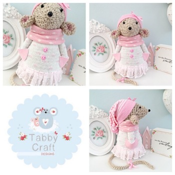 Winter Standing Mouse with Beanie Hat and Tutu Onesie - Beige and Pale Pink