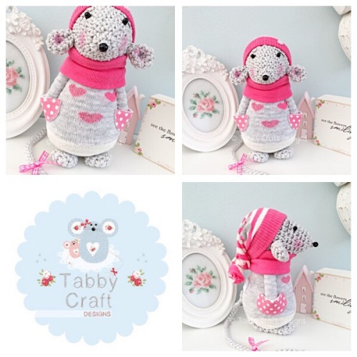 Winter Standing Mouse with Beanie Hat and Heart Onesie - Grey and Hot Pink