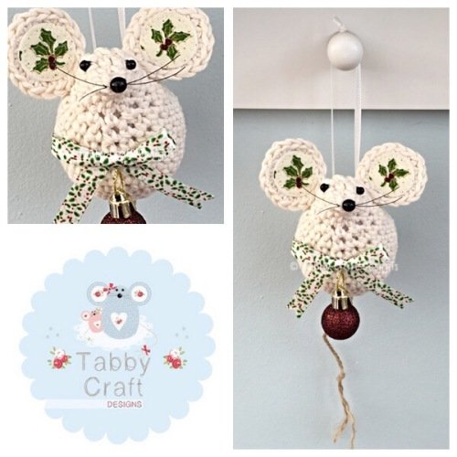 Small Hanging Holly Mouse