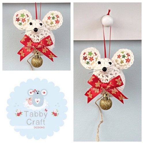 Small Hanging Star Mouse - Ivory, Gold and Green