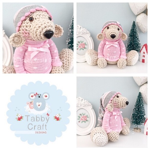 Large Beanie Hat Teddy Bear - Beige, Grey and Pink