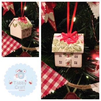 Small Hanging Wooden Christmas Cottage - Ivory and Red and Green