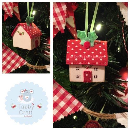Small Hanging Wooden Christmas Cottage - Ivory and Red Polka Dot