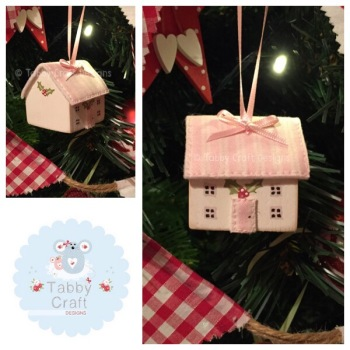 Small Hanging Wooden Christmas Cottage - Ivory and Pink Stripe