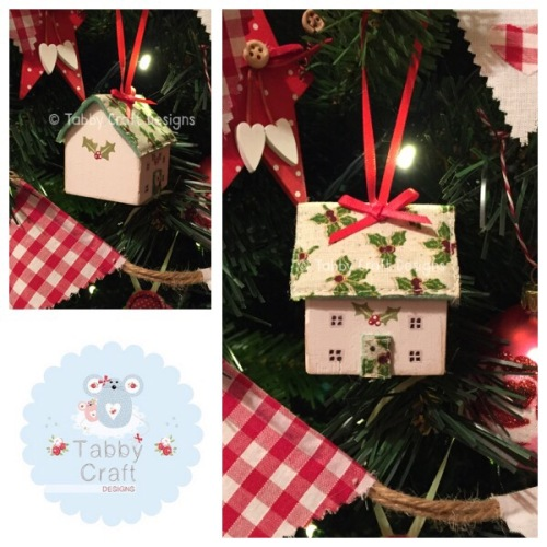 Small Hanging Wooden Christmas Cottage - Ivory and Holly Fabric