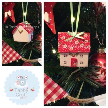 Small Hanging Wooden Christmas Cottage - Ivory and Red Tiny Floral Fabric
