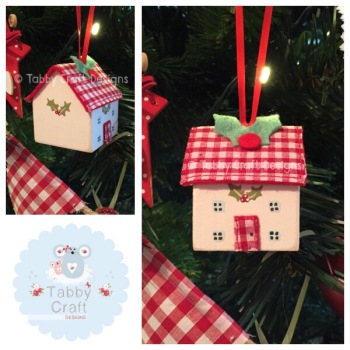 Small Hanging Wooden Christmas Cottage - Ivory and Red Gingham Fabric
