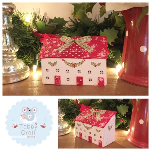Patchwork Row Wooden Christmas Cottages - Ivory and Red Fabric