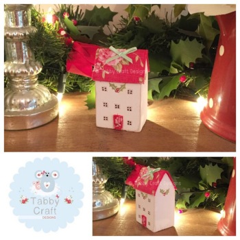 Three Storey Wooden Christmas Cottages - Ivory and Red Small Floral Fabric