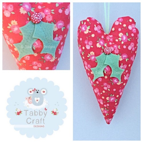 Large Fabric Hanging Holly Heart - Red Floral Fabric