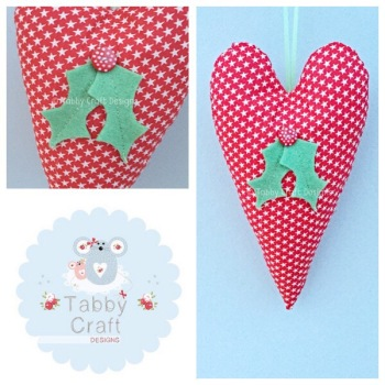 Large Fabric Hanging Holly Heart - Red Star Fabric