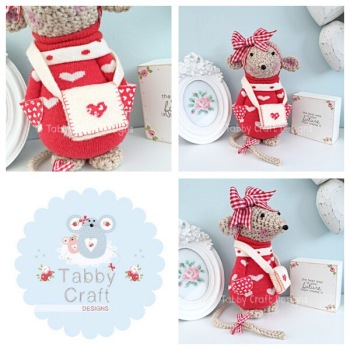 Valentines Standing Mouse with Satchel and Large Bow - Beige, Red and Ivory