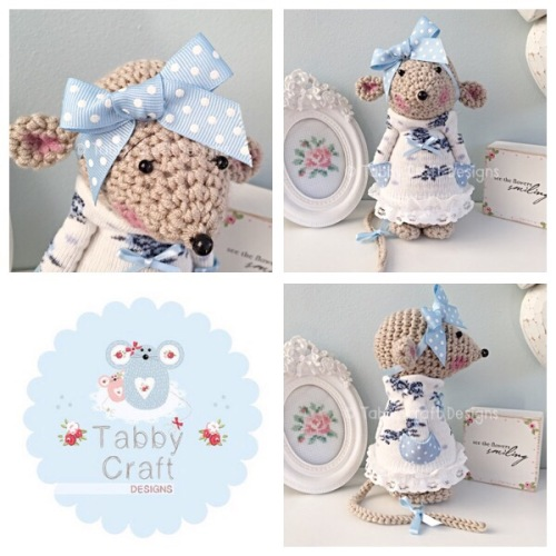 Standing Mouse with Floral Jumper and Large Bow - Beige, Blue and Ivory