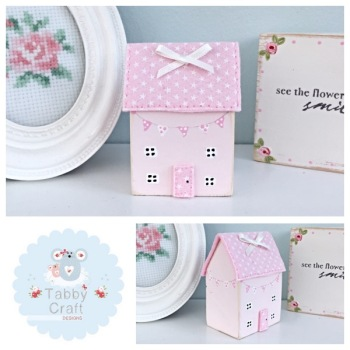 Distressed Wooden Bunting Cottage - Pink and Pink Fabric