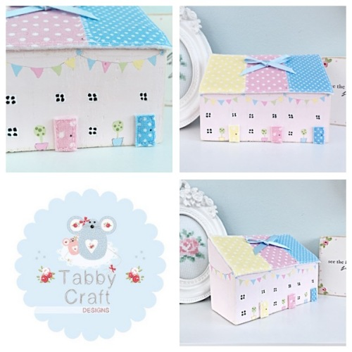 Patchwork Row Wooden Spring Cottages - Ivory, Pink, Lemon and Blue Fabric