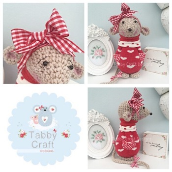 Standing Mouse with Heart Jumper and Large Bow - Beige, Red and Ivory