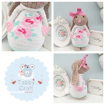 Spring Standing Bunny with Lrge Bow and Floral Jumper - Beige, Pink and Ivory