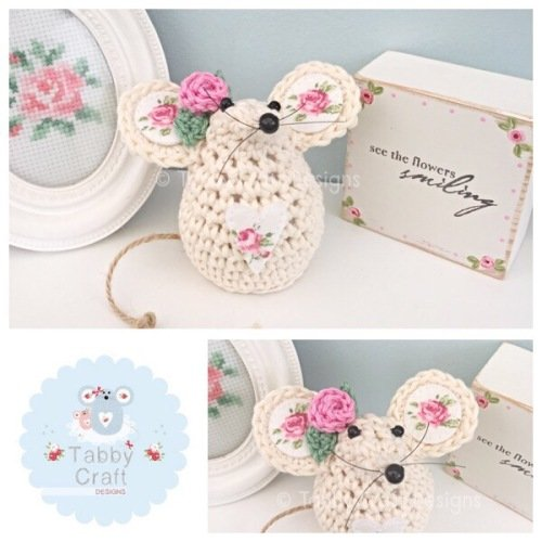 Small Rosebud Mouse - Ivory and Pink