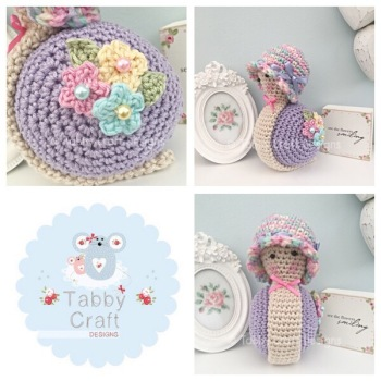 Little Spring Snail with Hat - Lilac, Pink, Lemon and Aqua