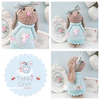 Floral Standing Bunny with Large Bow and Heart Jumper - Beige, Mint and Pink