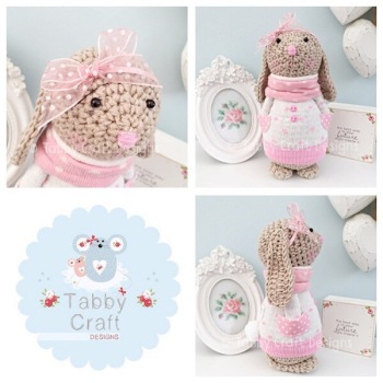 Spotty Standing Bunny with Large Bow and Jumper - Beige, Ivory and Pink