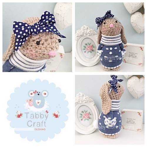 Spotty Standing Bunny with Large Bow and Jumper - Beige, Blue and Navy