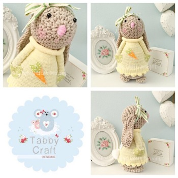 Spring Standing Bunny with Large Bow and Carrot Jumper - Beige, Yellow and Green