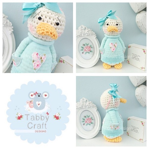 Floral Standing Duckie with Large Bow and Heart Jumper - Ivory, Mint and Pi