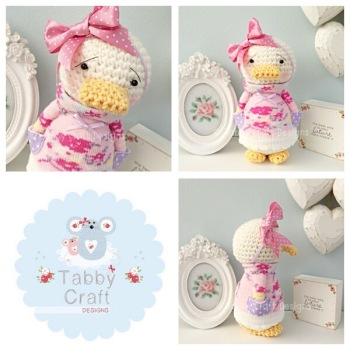 Floral Standing Duckie with Large Bow and Floral Jumper - Ivory, Lilac and Pink