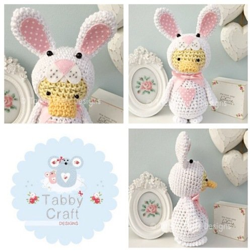 Standing Duckie in Bunny Costume - White and Pink