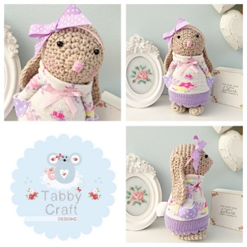Floral Standing Bunny with Large Bow and Jumper - Beige, Lilac, Pink and Ivory