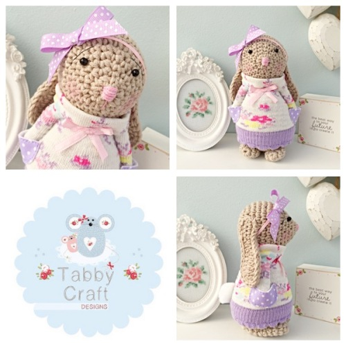 Floral Standing Bunny with Large Bow and Jumper - Beige, Lilac, Pink and Iv
