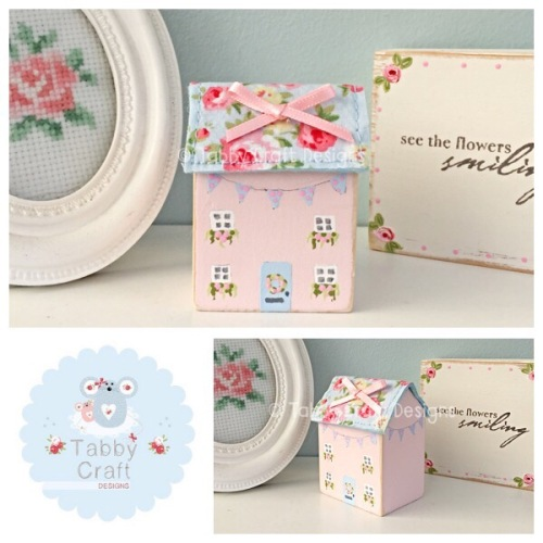 Distressed Wooden Spotty Bunting Cottage - Pink with Floral Fabric