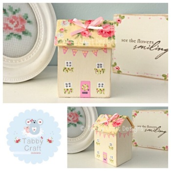 Distressed Wooden Spotty Bunting Cottage - Lemon with Floral Fabric