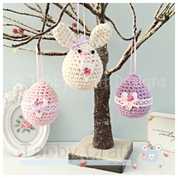 Set of 3 Easter Hanging Decorations - Ivory, Pink and Lilac