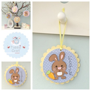 Easter Bunny Dangly - Blue and Lemon