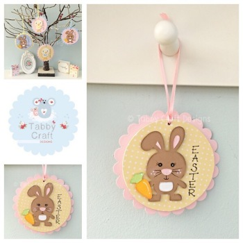 Easter Bunny Dangly - Lemon and Pink