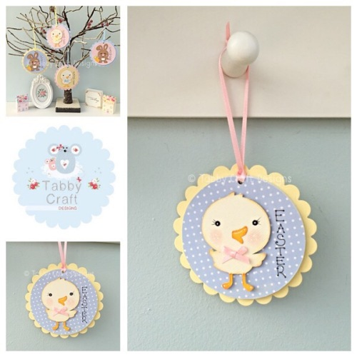 Easter Chick Dangly - Blue and Lemon