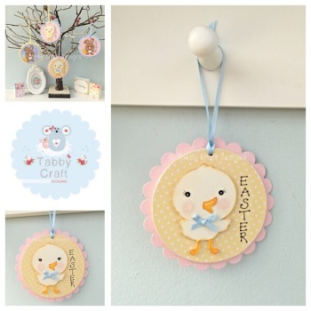 Easter Chick Dangly - Lemon and Pink