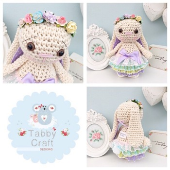 Spring Standing Bunny with Flower Crown and Frilly Skirt - Ivory, Lilac, Pink, Lemon and Aqua