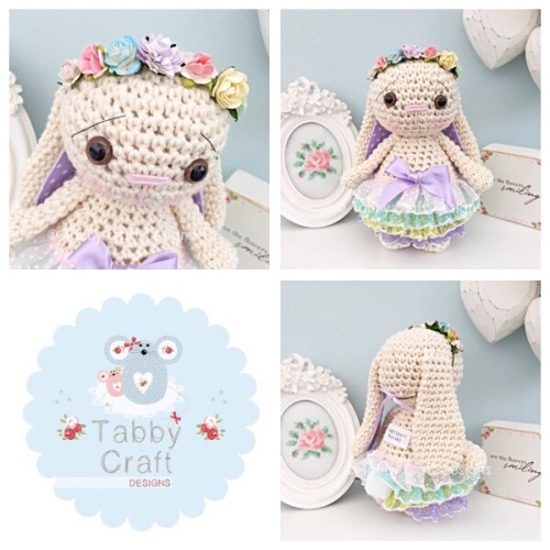 Spring Standing Bunny with Flower Crown and Frilly Skirt - Ivory, Lilac, Pi