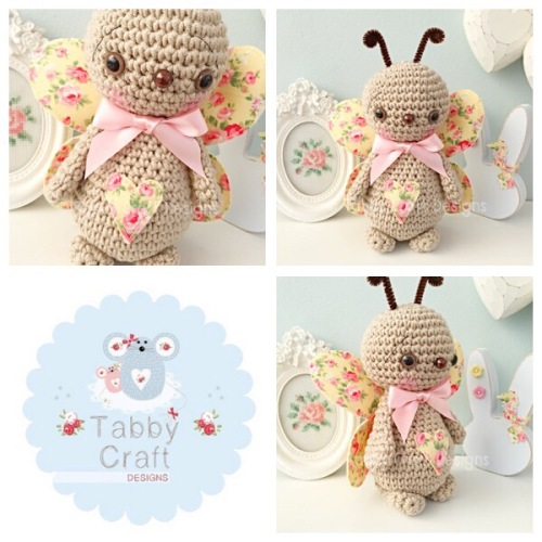 Standing Butterfly with Large Bow - Beige and Lemon