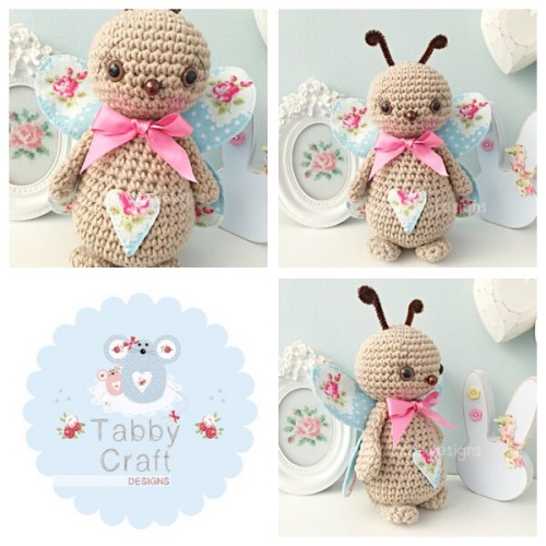 Standing Butterfly with Large Bow - Beige and Blue