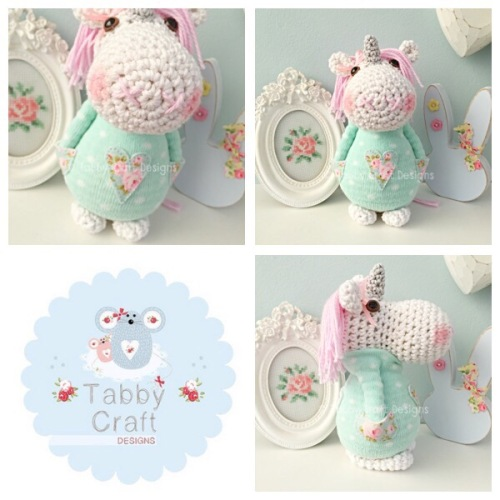Standing Unicorn with Heart Jumper - White, Mint and Pink