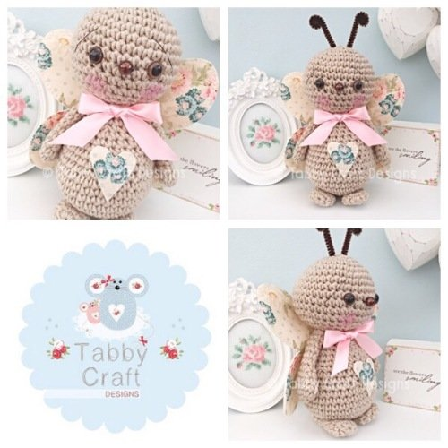 Standing Butterfly with Large Bow - Beige and Cream