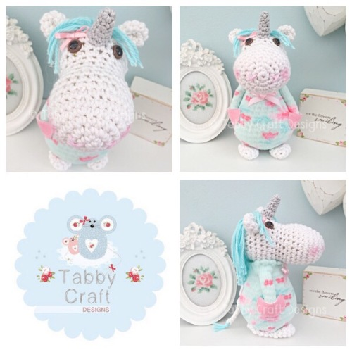 Standing Unicorn with Floral Jumper - White, Mint and Pink