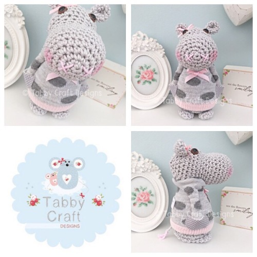 Standing Hippo with Polka Dot Jumper - Grey and Pink