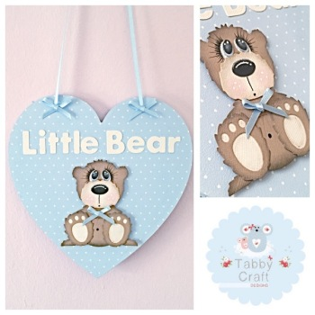 Hanging Polka Dot Little Bear Heart - Blue Heart and Beige Bear