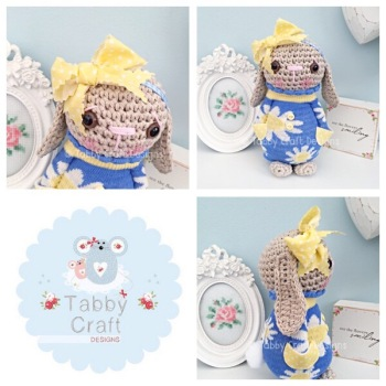 Daisy Standing Bunny with Large Bow and Jumper - Beige, Lemon and Blue