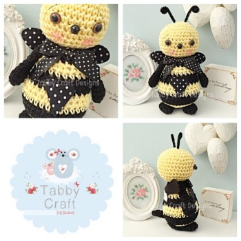 Standing Bumble Bee with Large Bow - Lemon and Black